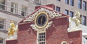 Oblique view of the Old State House in Boston, Massachusetts, the seat of British colonial government from 1713 to 1776, showing the lion and the unicorn, the supporters of the Coat of arms of the United Kingdom