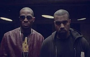 Oliver Twist (D'banj song) - A still from the music video, depicting D'banj and Kanye West; the latter of whom is one of several to make a cameo.