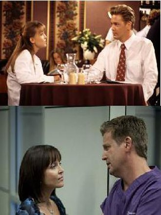 Shortland Street - The longest running characters Chris and Rachel as they were in 1993 and 16 years later in 2009