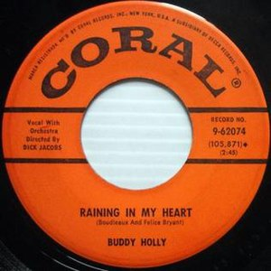 Raining in My Heart - Image: Raining In My Heart Buddy Holly Coral 45