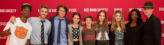 Red Band Society - Main cast at the premier event, from left to right: Brian Bradley (Astro), Dave Annable, Nolan Sotillo, Ciara Bravo, Griffin Gluck, Rebecca Rittenhouse, Zoe Levin, Octavia Spencer, and Charlie Rowe.