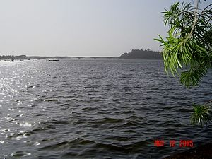 Karwar, Karnataka - Kali River and Sadashivgad fort as seen from Nandangadda village