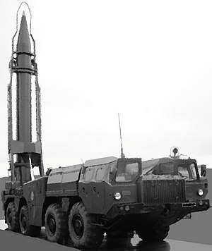 Scud Transporter Erector Launcher (TEL) with rocket in ready to fire position