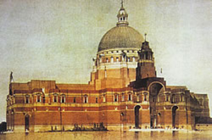 Cyril Farey - Illustration by Cyril Farey of Edwin Lutyens' unrealized design for Liverpool Metropolitan Cathedral