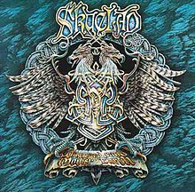 "An elaborate design on a record album cover. In the center is the profile two dragon heads, back to back, with feathers splaying out on either side, and a bar below like that of a military medal. ""Skyclad"" is printed in elaborate lettering at the top."