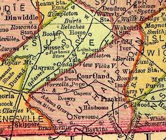 Southampton County, Virginia - Southampton County from 1895 map of Virginia