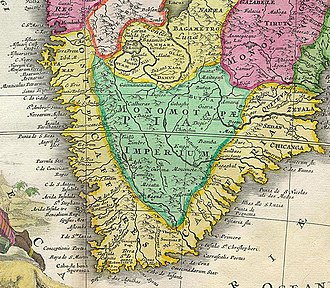 History of Namibia - Detail of a map of Southern Africa from 1707.