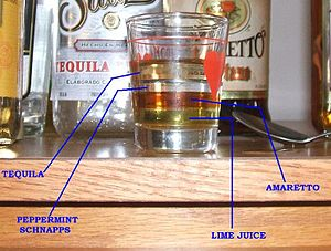 Layered drink - Though not an example of a widely accepted recipe, this shot illustrates the look and properties of a layered drink.