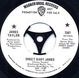 Sweet Baby James (song) - Image: Sweet Baby James promo single label