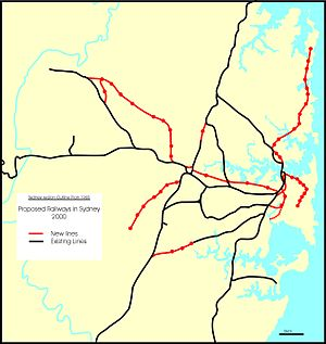 Proposed railways in Sydney - Existing and proposed railways, Sydney Region Outline Plan 1968