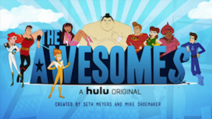 The Awesomes - From left to right: Concierge, Muscleman, Frantic, Hotwire, Sumo, Perfect Man, Gadget Gal, Impresario, Prock
