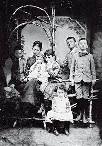 Ludwig Wittgenstein - From left, Helene, Rudi, Hermine, Ludwig (the baby), Gretl, Paul, Hans, and Kurt, around 1890