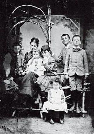 Ludwig Wittgenstein - From left, Helene, Rudi, Hermine, Ludwig (the baby), Gretl, Paul, Hans, and Kurt, around 1890