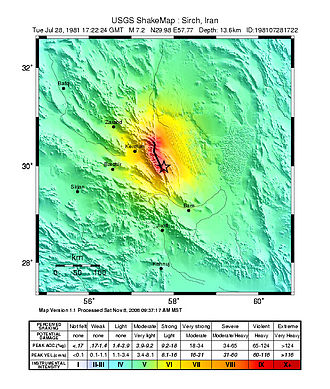 1981 Sirch earthquake - USGS Shakemap for the event