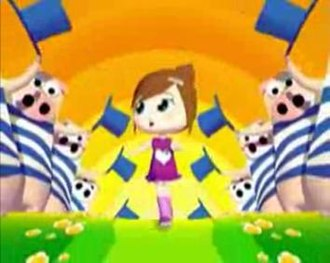 """Un Monde parfait - The little girl representing Ilona and the other characters, in the multicoloured music video for """"Un Monde parfait""""."""