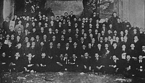 Union of Russian Workers - The Union of Russian Workers fulfilled not only a political but also a social function for its members. New York URW branch, circa 1917.