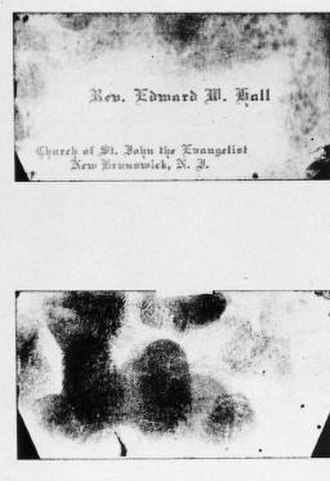 Hall–Mills murder case - A calling card of Reverend Edward Wheeler Hall was found at the Hall-Mills murders crime scene in 1922.