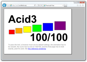 Internet Explorer 9 - Internet Explorer 9 displaying Acid3. 100/100 possible points