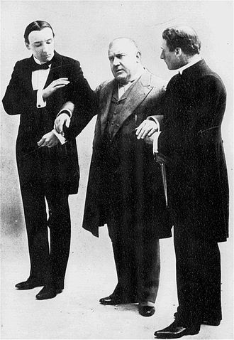 The Admirable Crichton - A scene from  the 1902 production, including H.B. Irving as Crichton (left) and Henry Kemble as the Earl of Loam (centre).