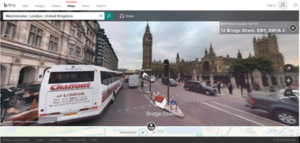 Bing Maps - Bing Maps showing Streetside's view near the Palace of Westminster
