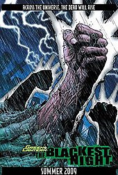 "The page depicts three desiccated hands breaking through the ground of a graveyard, one wearing a Black Lantern ring. The text reads: ""Across the universe, the dead will rise. Green Lantern: The Blackest Night. Summer 2009"""