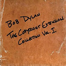 "A plain brown cover with the words ""BOB DYLAN / THE COPYRIGHT EXTENSION / COLLECTION VOL. 1"" written in black handwriting"