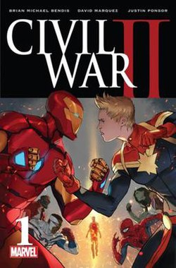 Cover of Civil War II #1 showing Iron Man and Captain Marvel standing opposed to each other in the forefront with fists raised. Other superheroes, divided by a mysterious figure in a column of light, are standing behind them in the background.