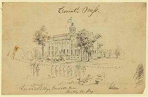 Corona Female College - Union soldiers hoisting the Stars and Stripes over Corona Female College