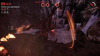 Evolve (video game) - The hunters (top) are played from a first-person perspective, while the monster is played from a third-person perspective