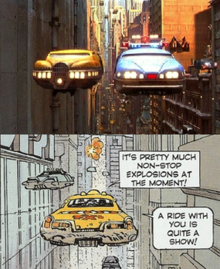A screenshot of a flying taxi in the film, placed above a drawingof a flying taxi from a comic book