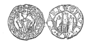 Frederick de la Roche - Frederick's seal, depicting him and the city of Tyre