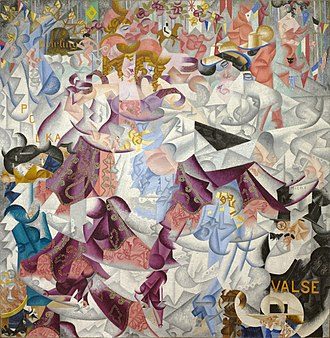 Futurism - Gino Severini, 1912, Dynamic Hieroglyphic of the Bal Tabarin, oil on canvas with sequins, 161.6 x 156.2 cm (63.6 x 61.5 in.), Museum of Modern Art, New York