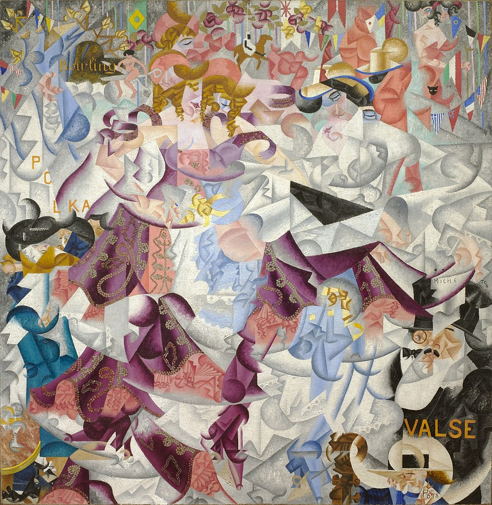 Gino Severini, 1912, Dynamic Hieroglyphic of the Bal Tabarin, oil on canvas with sequins, 161.6 x 156.2 cm (63.6 x 61.5 in.), Museum of Modern Art, New York