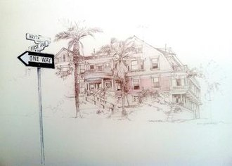 Guillermo Acevedo - Hawthorn and First Avenue (1968) by Guillermo Acevedo. Pencil Drawing
