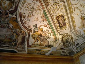 Girolamo Muziano - Image: Hercules with Lernean Hydra Labor 2 Girolamo Muziano 1565 Sala di Ercole Villa d'Este, Tivoli