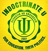 "yellow logo with green lettering, ""I"" superimposed over ""U"" and with text ""reductio ad absurdum"""