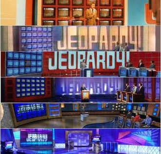 Jeopardy! - Various sets used by the syndicated version over the years. From top to bottom: 1984–85, 1985–91, 1991–96, 1996–2002, 2002–09, and 2009–13.