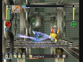 Mega Man Network Transmission - The player selects and uses a LongSwrd Battle Chip from the HUD at the bottom of the screen. The Custom Bar extends across the top.