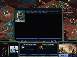 Sid Meier's Alpha Centauri - Alpha Centauri and Alien Crossfire feature similar gameplay. Diplomatic actions are handled in pop-up windows, while combat and unit movement are handled on the isometric field shown in the background. Information such as unit health and status changes are displayed on the black field across the bottom.