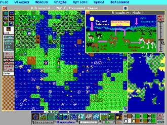 SimEarth - SimEarth screenshot, IBM PC version. In this simulated planet, radiates have developed sentience and are beginning to form civilizations.