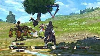 Tales of Berseria - A battle sequence from Tales of Berseria, demonstrating the HUD, character skills, and general setup of the Liberation Linear Motion Battle System