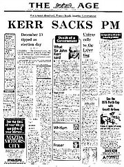 Front page of The Age on 11 November 1975