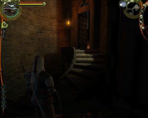 "The Witcher (video game) - A screenshot of The Witcher showing the lighting and the ""over-the-shoulder"" camera"