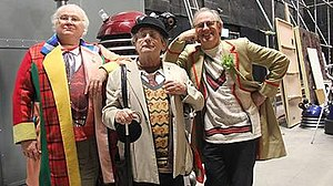 The Five(ish) Doctors Reboot - Left to right: former Doctor actors Colin Baker, Sylvester McCoy and Peter Davison