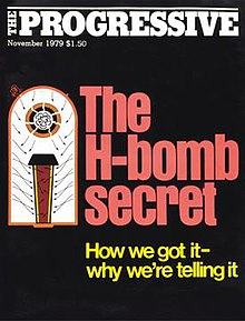"The cover has a black background with ""The H-bomb secret"" in red below the masthead and the subtitle ""How we got it - why we're telling it"" in yellow. The writing is accompanied by a Morland's diagram of an H-bomb."