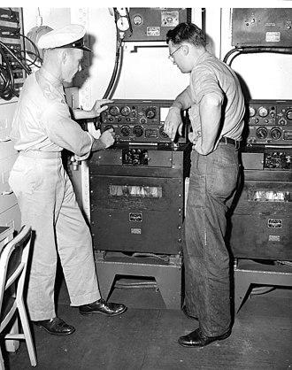 AN/ART-13 - US Navy (T-47/ART-13 Radio Transmitter) training on board the USS Nereus, circa. 1952