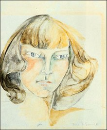 A watercolor image of a woman.