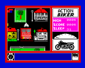 "Action Biker - ""Action Biker"" on the ZX Spectrum. This shows the different viewpoint and gameplay elements compared to the Atari and C64 versions."