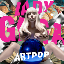 A nude sculpture of Gaga with a blue gazing ball in front of her. Information on the album is superimposed on her.