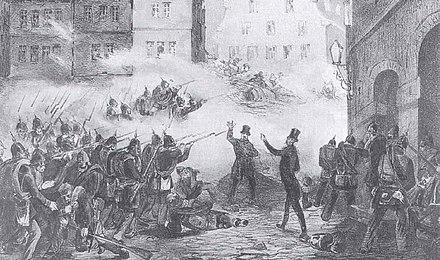 The May uprising in Dresden Barricades - 1848 Germany.jpg